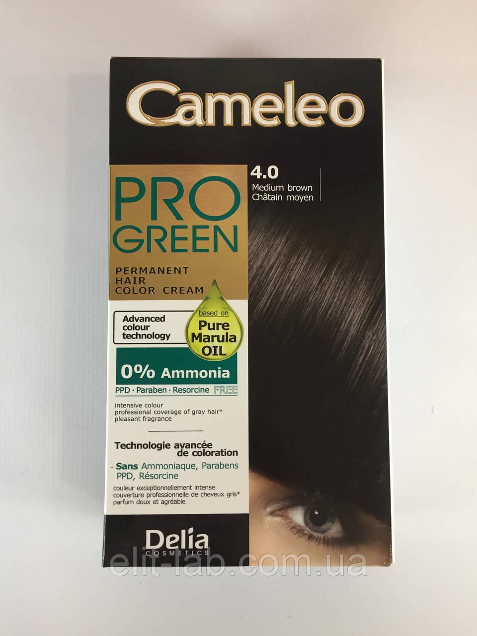 Крем-фарба Delia для волосся Pro Green з маслом Марули 4.0 Коричневий
