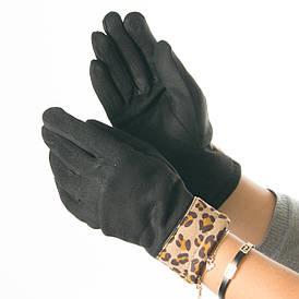 Оптом женские перчатки из искусственной замши с леопардовой вставкой № 19-1-51-4