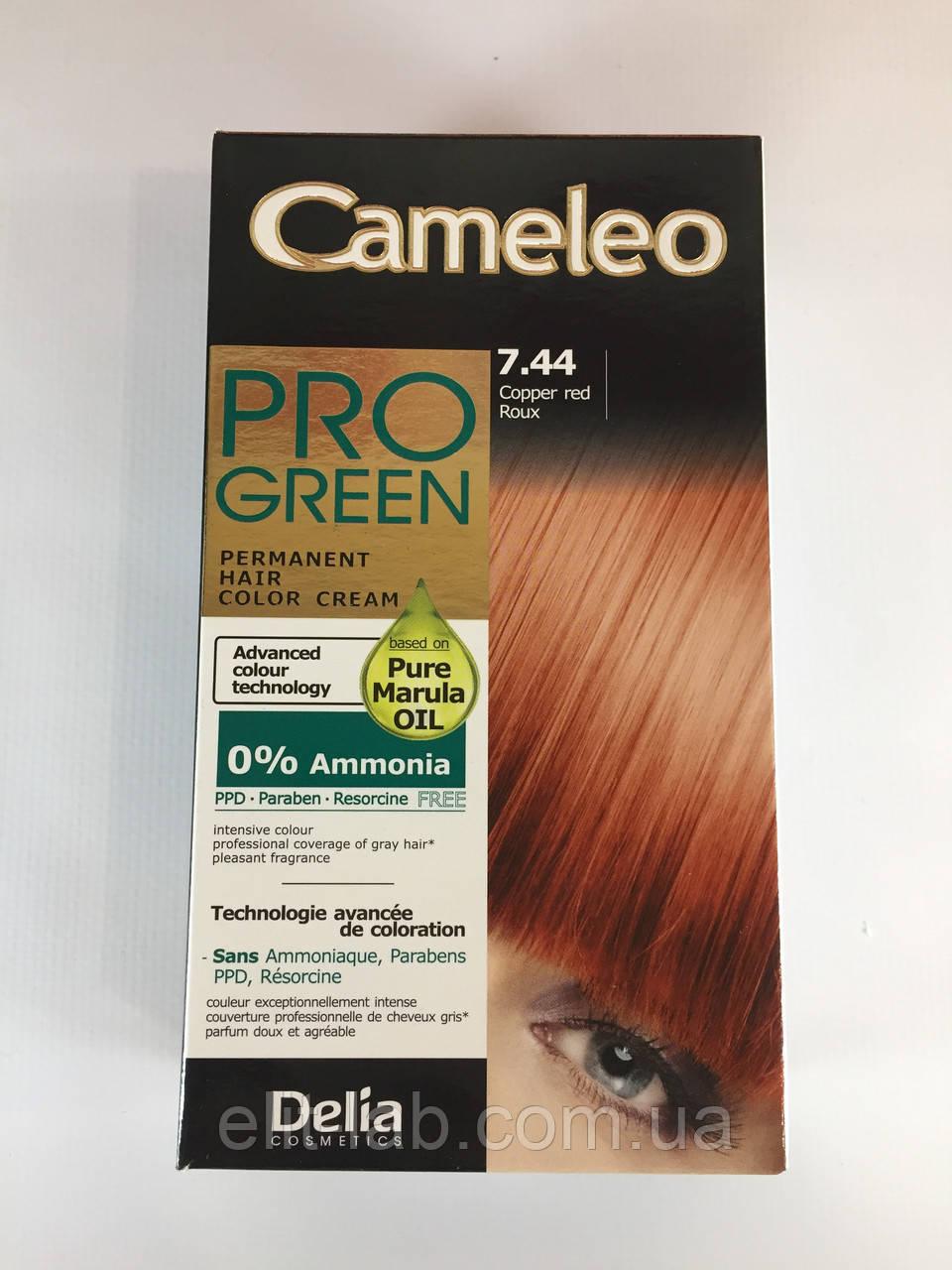 Крем-краска Delia для волос Pro Green с маслом Марулы 7.44 Рыжий