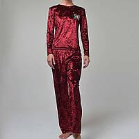 Женская пижама штаны/кофта мраморный велюр  бордо.
