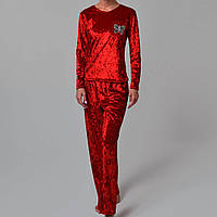 Женская пижама штаны/кофта мраморный велюр M-7038 красная