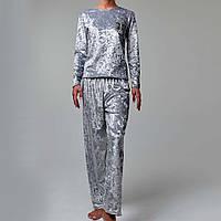 Женская пижама штаны/кофта мраморный велюр M-7048 серебро