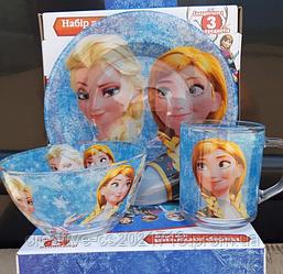 """Набор детской посуды """"Холодное сердце""""  Frozen, 3 предмета"""