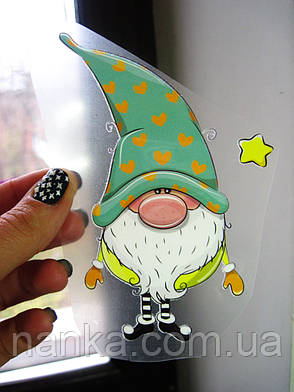 Термо наклейка, трансфер, наклейка на одежду Новогодний Гном звезда , 7х13 см, фото 2