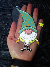 Термо наклейка, трансфер, наклейка на одежду Новогодний Гном звезда , 7х13 см, фото 3