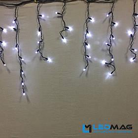 Светодиодная гирлянда Бахрома уличная 3х0.5 м 100 LED ПВХ, белая на черном проводе (шестигранник)
