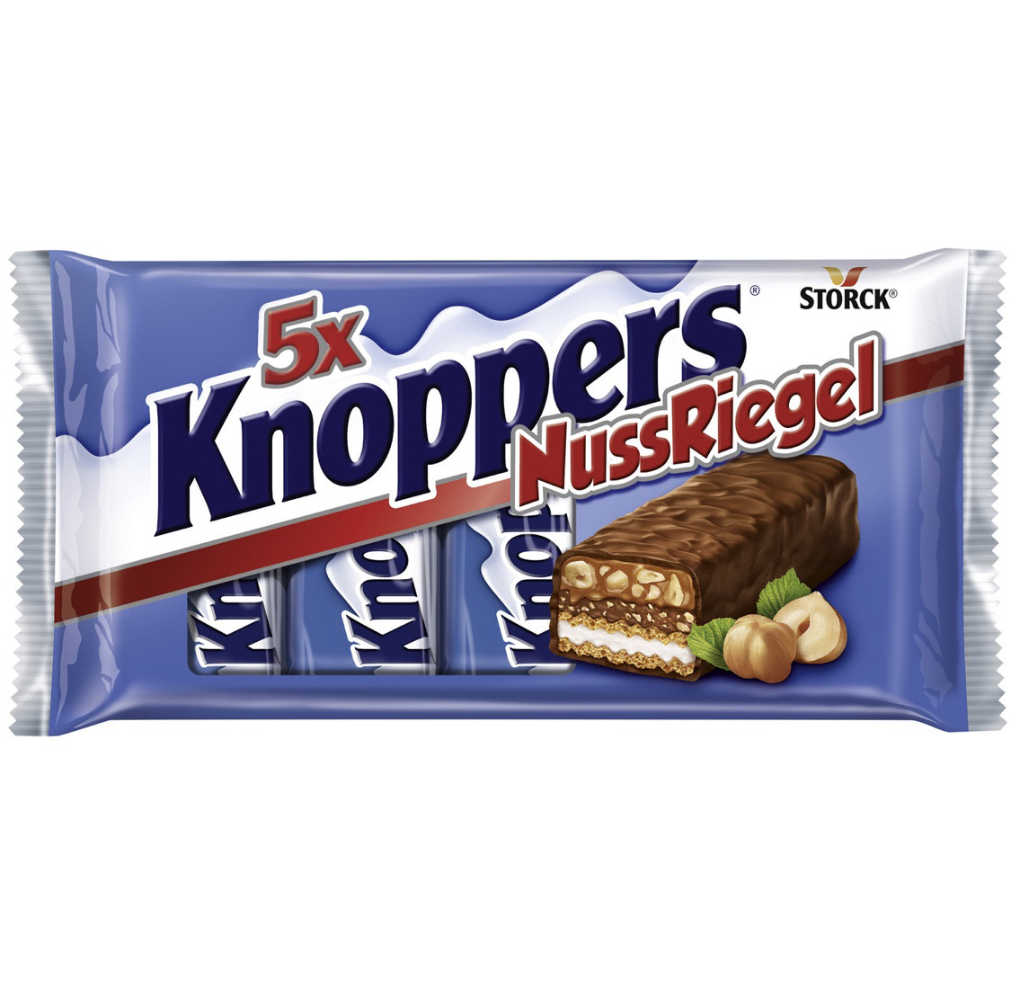 Knoppers NussRiegel Вафельные батончики с шоколадно-ореховой, молочной начинками и кусочками фундука