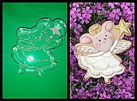Вырубка + трафарет  для пряника и печенья Мышка новогодняя