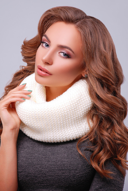 Снуд, хомут, платок вязаный, цвета в ассортименте. Женский шарф 299 белый