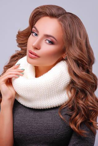 Снуд, хомут, платок вязаный, цвета в ассортименте. Женский шарф 299 белый, фото 2