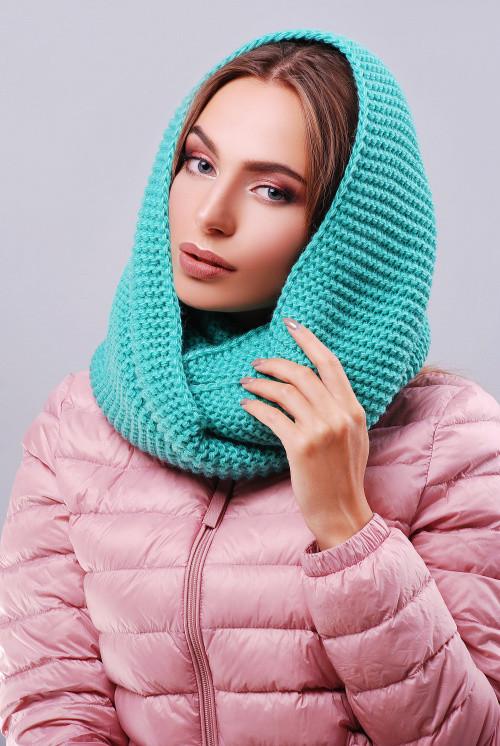 Снуд, хомут, платок вязаный, цвета в ассортименте. Женский шарф 299 зеленый