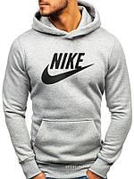 Мужская толстовка Nike (Найк) светло серая (большая эмблема) кенгуру худи