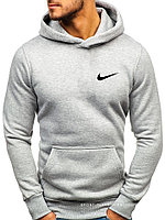 Мужская толстовка Nike (Найк) светло серая (маленькая эмблема) кенгуру худи