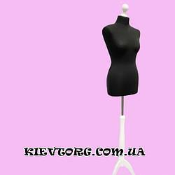 Манекен женский портновский черный на белой деревянной треноге для пошива одежды, магазина