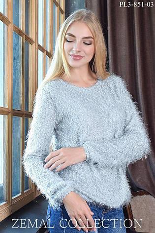 Теплий святковий жіночий светр чорний, фото 2