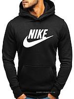 Утепленная мужская толстовка Nike (Найк) черная (ЗИМА) с начесом (большая эмблема) кенгуру худи
