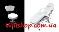 Комплект оборудования косметологическая кушетка 202 + стул мастера со спинкой white