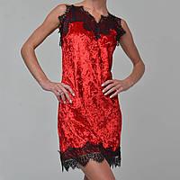 Женская ночнушка мраморный велюр M-7039 красная