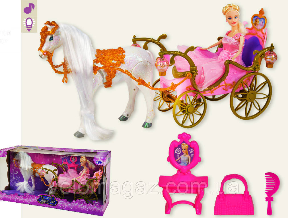 Музична карета 209А з лялькою, конячка ходить, звуковий супровід