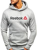 Утепленная мужская толстовка Reebok серая (ЗИМА) с начесом (большая эмблема) реплика