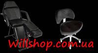 Акция! Комплект Кушетка косметологическая педикюрная и стул мастера педикюра со спинкой.Крем