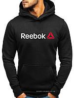 Утепленная мужская толстовка Reebok черная (ЗИМА) с начесом (большая эмблема) реплика