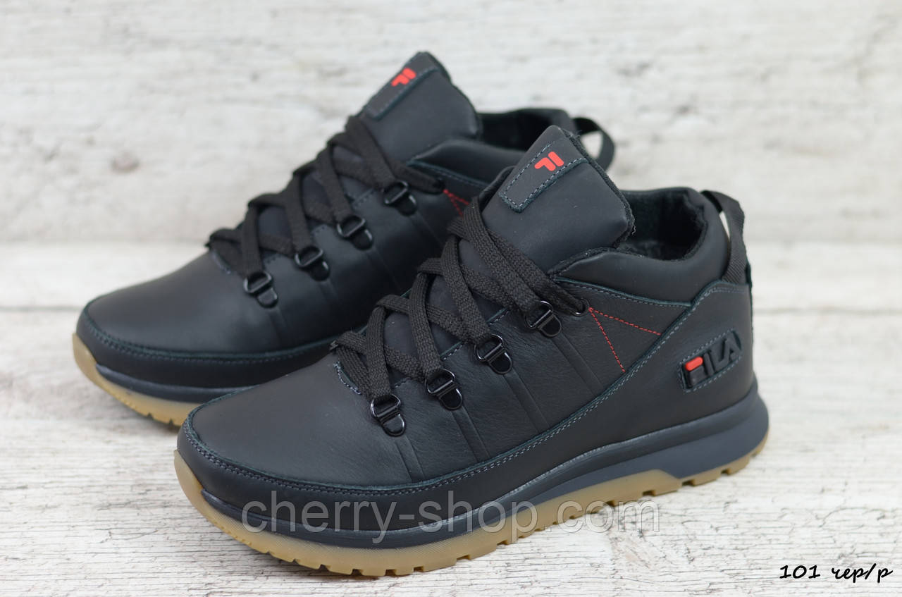 Мужские кожаные зимние ботинки/кроссовки Fila