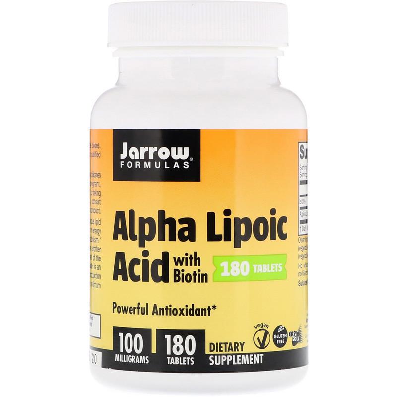 "Альфа-липоевая кислота + биотин, Jarrow Formulas ""Alpha Lipoic Acid with Biotin"" 100 мг (180 таблеток)"