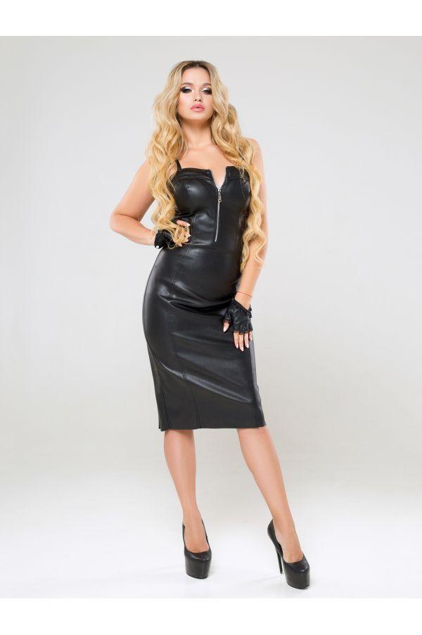Клубное черное платье из эко–кожи Kadima (42–50р)