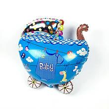 Фольгированный шар для новорожденного Коляска голубая Китай, 68*54 см 1539
