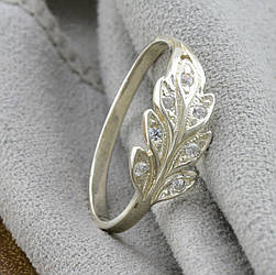 Серебряное кольцо Колосок, вставка белые фианиты, вес 1.5 г, размер 20