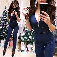 Комбинезон женский штанами темно-синий с декольте нарядный