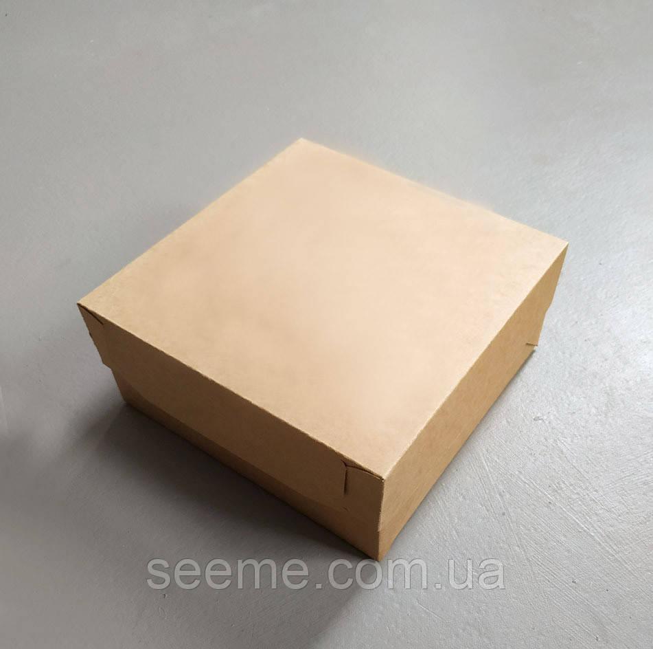 Коробка подарочная из крафт картона 200x200x90 мм