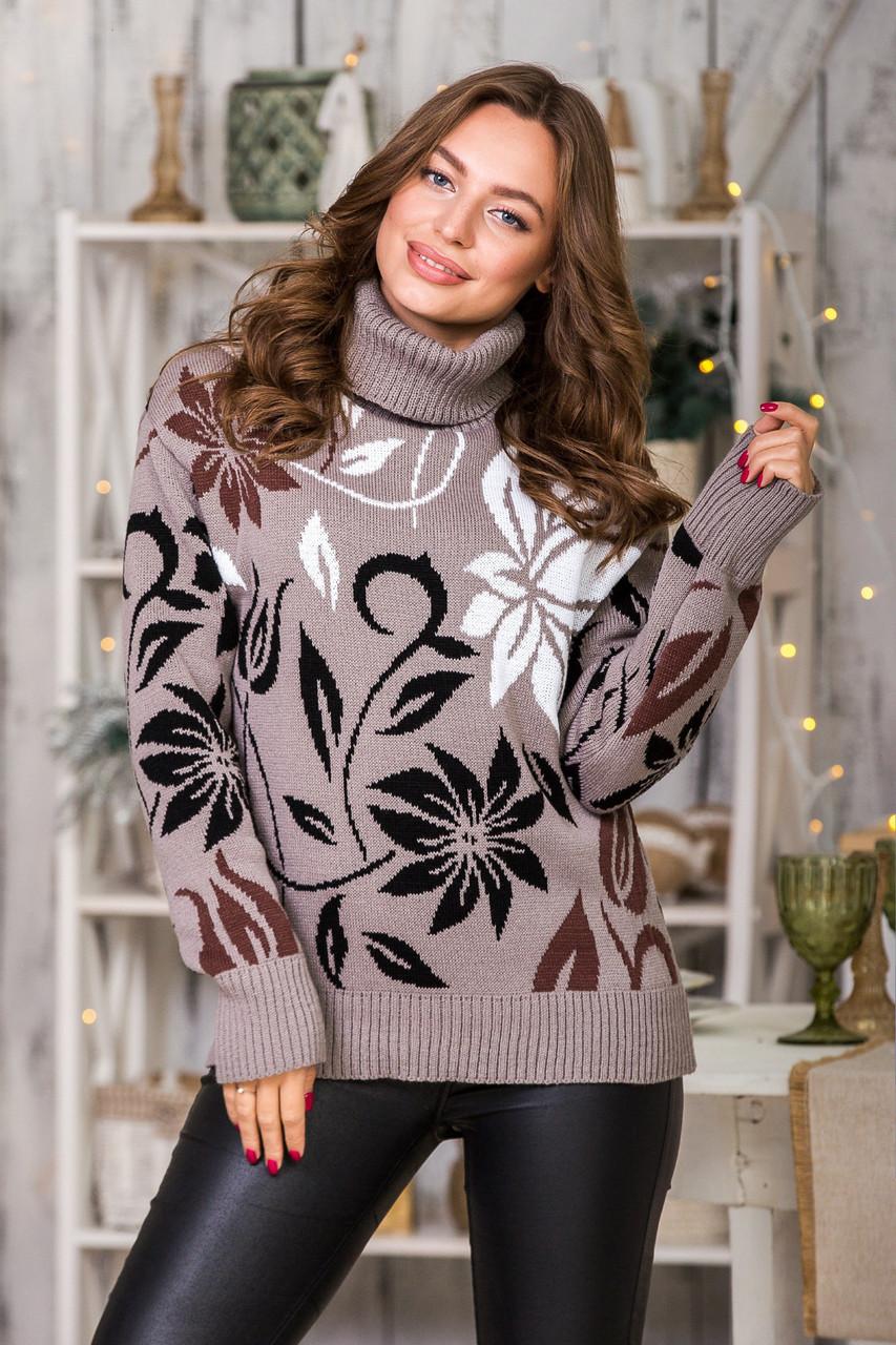 Модный вязаный свитер Вероника (капучино, черный, шоколад, белый)(44-52)