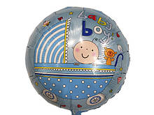Шарик фольгированный Baby Boy коляска диаметр 45 см. 1379