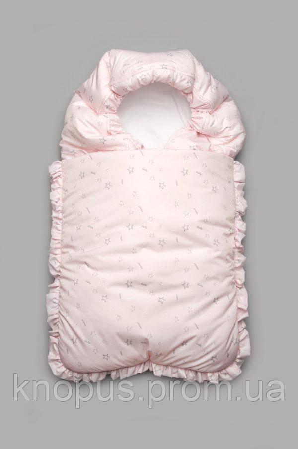 Конверт-одеяло  зимний для новорожденного, светло-розовый , Модный карапуз (0-6 мес)