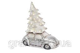Украшение Машина с елкой и LED-подсветкой 49см, цвет - серебро