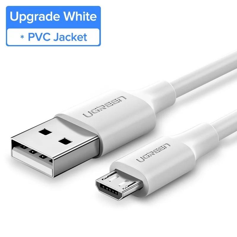 Оригинальный кабель UGREEN MicroUSB Fast Charge 2.4A быстрая зарядка 2.4A White