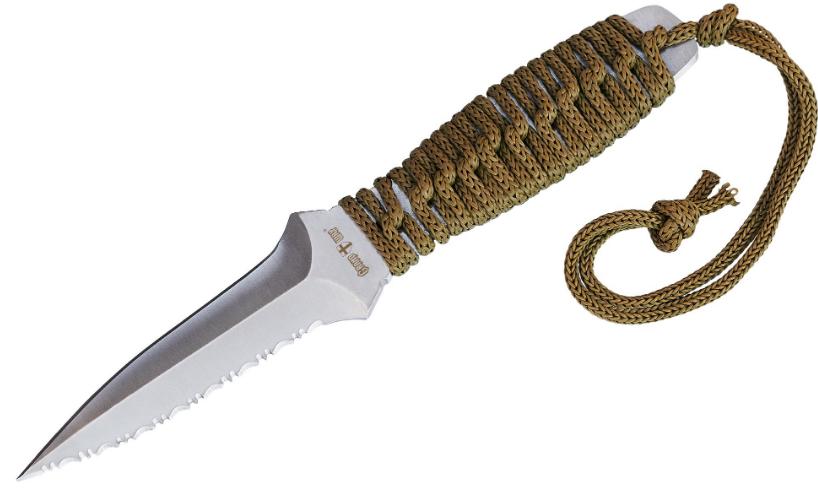 Нож для метания металл + плетеный шнур на рукояти лезвие заточено + полносеррейторный, чехол