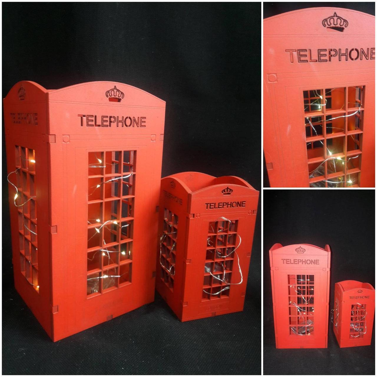 Телефонная будка с ЛЕД подсветкой, дерево, выс. 30 см., 320/290 (цена за 1 шт. + 30 гр.)
