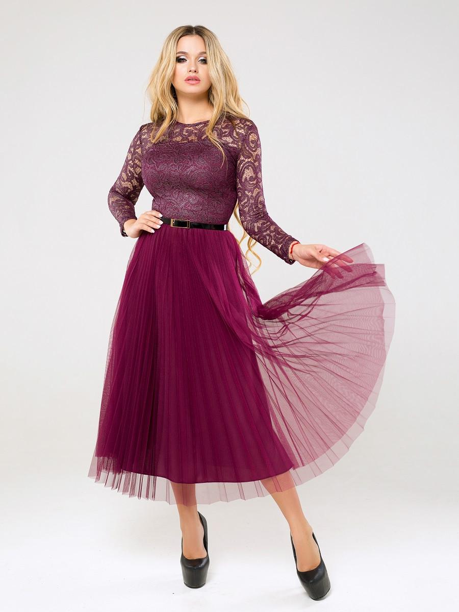 Шикарное вечернее платье с плиссированной юбкой Santafe (42–50р) vfhcfkf, фото 1
