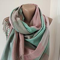 Женский Кашемировый шарф-палантин.Розовый, бирюза розовый.Клетка Кашемир 180\75