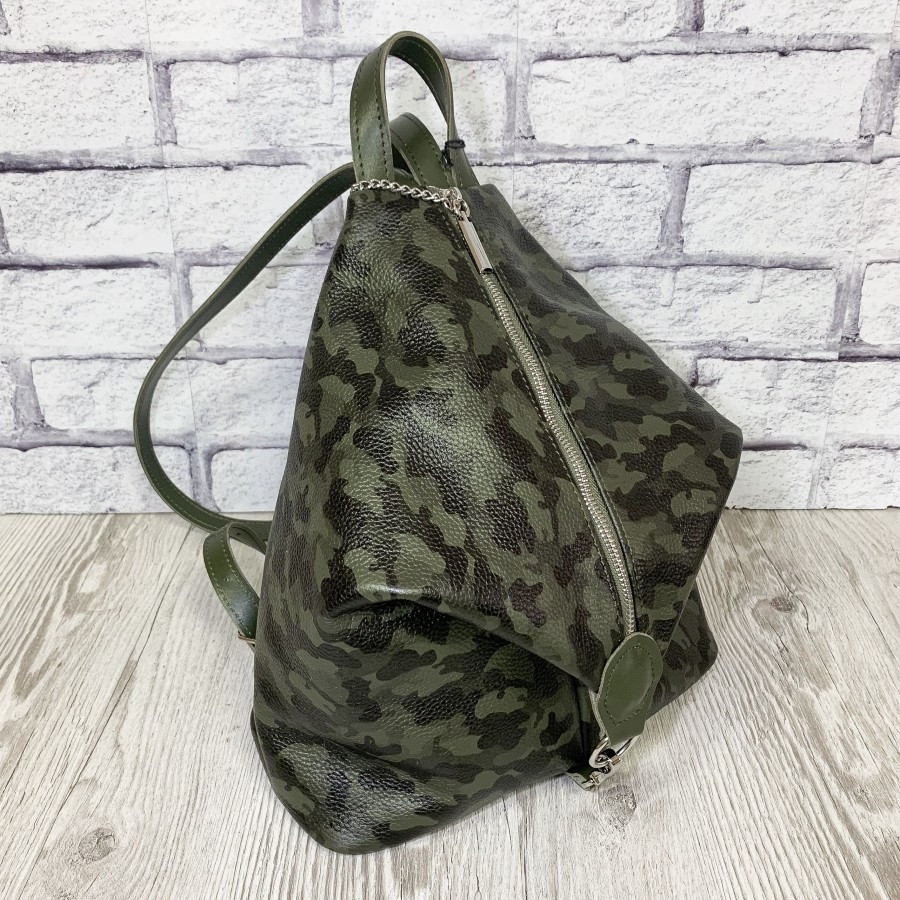 """Женский кожаный рюкзак """"London"""" зеленый камуфляж флотар"""