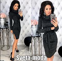 Стильное женское осеннее платье из ангоры с хомутом и карманами Модные осенние женские платья от производителя