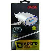 Зарядное устройство ASPOR A802 LED с кабелем lighting  1USB; 1A ;белый
