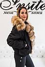 Женский Бомбер Короткий Черный С Мехом Песца 002ТП, фото 4