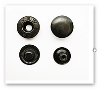 Кнопка-застежка Альфа 4204 тем. ник. с черной шляпкой 10 мм