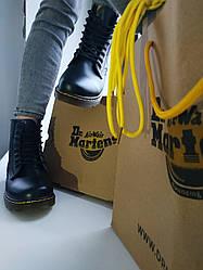 """Женские зимние ботинки Dr.Martens """"Black""""  с мехом"""