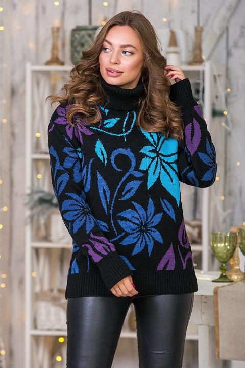 Модный вязаный свитер Вероника (черный, джинс, слива, голубой)(44-52)
