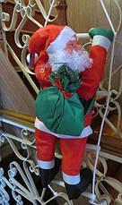 Новогодняя Игрушка Подвесной Santa Claus Декор для Дома Дед Мороз 70 см с Мешком Лезет по Лестнице, фото 2